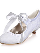 Women's Shoes Lace Spring Summer Basic Pump Wedding Shoes Kitten Heel Round Toe Ribbon Tie for Wedding Party & Evening White Blue Pink