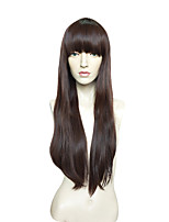 Women Synthetic Wig Capless Very Long Kinky Straight Medium Brown Party Wig Celebrity Wig Cosplay Wig Natural Wigs Costume Wig