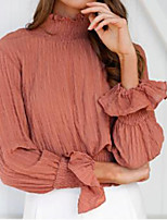 cheap -Women's Daily Holiday Street chic Winter Fall Shirt,Solid Turtleneck Long Sleeve Polyester