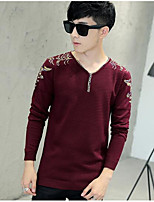 Men's Daily Going out Long Pullover,Print V Neck Long Sleeves Polyester Winter Fall/Autumn Thick Micro-elastic