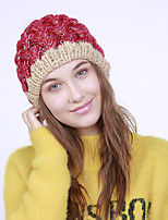 cheap -Women's Acrylic Floppy Hat,Vintage Cute Casual Floral Winter Braided Khaki Wine Yellow Dark Gray Red