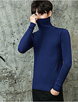 Men's Going out Casual/Daily Simple Vintage Short Pullover,Solid Turtleneck Long Sleeves Cotton Fall Winter Thick strenchy