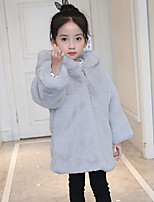 cheap -Girls' Solid Jacket & Coat,Polyester Long Sleeves Casual Blushing Pink Gray