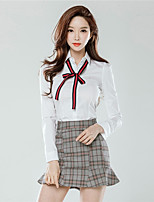 Women's Daily Casual Fall Shirt Skirt Suits,Plaid/Check Round Neck Long Sleeves Nylon
