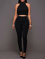Women's Holiday Club Simple Street chic Summer Fall Tank Top Pant Suits,Solid Sexy Round Neck Sleeveless Micro-elastic