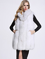 Women's Daily Sophisticated Winter Fall Vest,Solid Sleeveless Regular Fox Fur