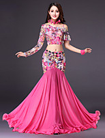 Shall We Belly Dance Outfits Women's Performance Polyester Pattern/Print Split Joint Long Sleeve Dropped Skirts Tops