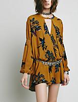 Недорогие -Для женщин На выход Осень Лето Блуза V-образный вырез,Богемный Цветочный принт Длинный рукав,Полиэстер,Плотная