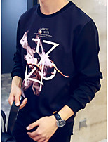 cheap -Men's Daily Sweatshirt Print Round Neck Micro-elastic Polyester Long Sleeve Fall