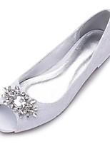 Для женщин Обувь Кружева Сатин Ткань Весна Лето Удобная обувь Свадебная обувь Открытый мыс Стразы Лак Назначение Свадьба Для праздника