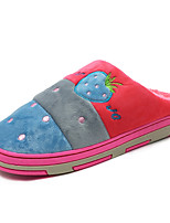 Women's Shoes Velvet Fall Winter Fluff Lining Comfort Slippers & Flip-Flops Round Toe Animal Print For Casual Blue Red Purple