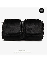 Women Bags Fur Clutch Feathers / Fur for Winter Black