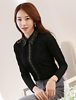 cheap -Women's Daily Wear Sophisticated Shirt,Solid Embroidery Shirt Collar Long Sleeves Cotton