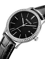 MEGIR Mulheres Relógio Casual Relógio de Moda Relógio Elegante Relógio de Pulso Quartzo Calendário Couro Legitimo Banda Casual Elegant
