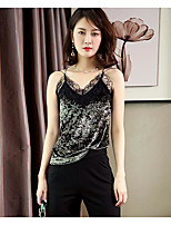Women's Others Street chic Tank Top,Solid V Neck Sleeveless Polyester