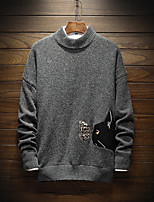 Men's Going out Casual/Daily Simple Chinoiserie Regular Pullover,Animal print Stitching Lace Round Neck Long Sleeves Cotton Winter Medium
