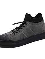 Men's Shoes Leatherette Winter Fall Fluff Lining Comfort Boots Booties/Ankle Boots for Casual Office & Career Gray Black