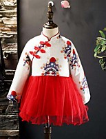 Robe Fille de Mosaïque Coton Rayonne Manches Longues