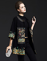 cheap -8CFAMILY Women's Party Holiday Boho Sophisticated Winter Cloak/Capes,Print Vintage Round Neck 3/4 Length Sleeves Regular Wool Nylon Elastane