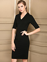 Baoyan Women's Daily Casual Sheath Dress,Solid V Neck Knee-length Half Sleeves Polyester Mid Rise Micro-elastic Medium