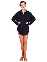 Latin Dance Tops Women's Performance Stretch Chiffon Long Sleeve Tops