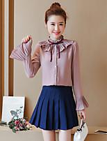 Недорогие -Для женщин На каждый день Блуза Рубашечный воротник,Очаровательный Изысканный Контрастных цветов Длинный рукав,Полиэстер