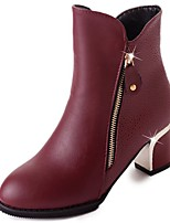 cheap -Women's Shoes PU Winter Fall Light Soles Boots Chunky Heel Pointed Toe Mid-Calf Boots For Casual Burgundy Black