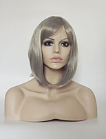 cheap -Women Synthetic Wig Capless Short Medium Length Kinky Straight Grey Natural Hairline With Bangs Party Wig Natural Wigs Costume Wig