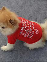 cheap -Cat Dog Shirt / T-Shirt Sweatshirt Dog Clothes Stylish Snowflake Casual/Daily Keep Warm Christmas Letter & Number Red