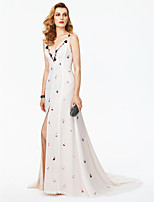 Sheath / Column Plunging Neckline Court Train Chiffon Lace Formal Evening Dress with Beading Appliques by TS Couture®