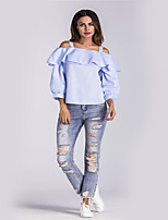 Women's Daily Holiday Street chic Shirt,Striped Strap Long Sleeves Polyester