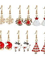 Women's Drop Earrings Zircon Gold Plated Alloy Christmas tree Jewelry For New Year Christmas
