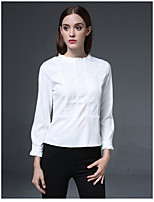 cheap -Women's Daily Vintage Shirt,Solid Stand Long Sleeves Cotton