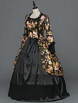 Victorien Rococo Féminin Adulte Costume de Soirée Bal Masqué Noir Cosplay Satin Stretch Manches Longues Longueur Sol