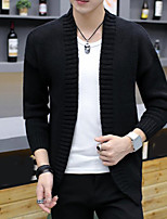 cheap -Men's Others Casual Regular Cardigan,Solid V Neck Long Sleeves Polyester Autumn Medium Micro-elastic