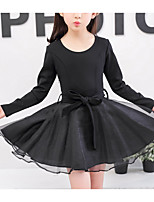 Girl's Daily Going out Solid Dress,Cotton Fall Long Sleeves Casual Black