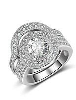 Women's Band Rings Cubic Zirconia Rhinestone Vintage Elegant Sterling Silver Cubic Zirconia Circle Round Jewelry For Wedding Engagement