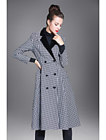 Women's Party Going out Vintage Street chic Spring Fall Trench coat,Houndstooth V-neck Long Sleeves Regular Cotton chambray