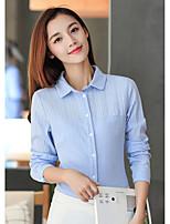 Недорогие -Для женщин На каждый день Офис Все сезоны Рубашка Рубашечный воротник,Уличный стиль Однотонный Длинные рукава,Хлопок,Средняя