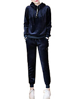 Women's Plus Size Daily Casual Fall Winter Hoodie Pant Suits