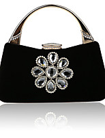 Women Bags Denim Evening Bag Crystal Detailing for Wedding Event/Party All Season Blue Black Red Almond Fuchsia
