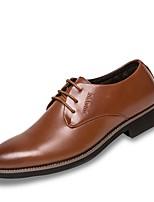 Для мужчин обувь Дерматин Полиуретан Весна Осень Удобная обувь Туфли на шнуровке Шнуровка Назначение Повседневные Черный Коричневый