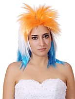 Women Synthetic Wig Capless Medium Length Orange/White/Blue Party Wig Halloween Wig Cosplay Wig Costume Wig