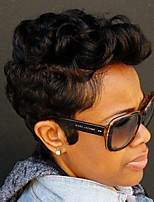 Women Human Hair Capless Wigs Natural Black Short Jerry Curl Curly African American Wig