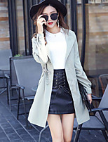 cheap -Women's Daily Going out Simple Casual Winter Fall Trench Coat,Solid Shirt Collar Long Sleeves Long Cotton