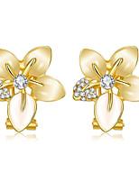 Femme Boucles d'oreille gitane Zircon Classique Mode Zircon Plaqué or Bijoux Pour Mariage Quotidien