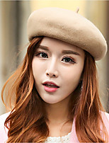 cheap -Women's Woolen Cloth Beret Hat,Work Casual Solid Jacquard Spring, Fall, Winter, Summer Artistic Style Khaki Dark Gray