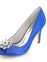 Femme Chaussures Satin Printemps Eté Escarpin Basique Chaussures de mariage Talon Aiguille Bout ouvert Strass Imitation Perle Pour