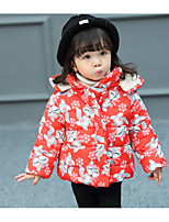 Girls' Floral Down & Cotton Padded Red Navy Blue