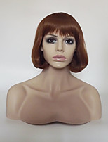 cheap -Women Synthetic Wig Capless Short Medium Length Kinky Straight Medium Auburn Natural Hairline With Bangs Party Wig Natural Wigs Costume